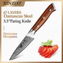XINZUO-cuchillo de pelar de 3,5 pulgadas, cuchillo de utilidad de alta calidad de acero de Damasco japonés de 67 capas, cuchillo de cocina para fruta con mango de palisandro