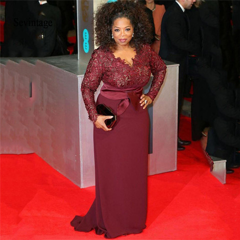 Vestido de Celebridade Sevintage Mangas Compridas Tapete Vermelho Vestidos Tamanho Grande Oprah Winfrey Bainha Império Topo Renda Formal Formatura