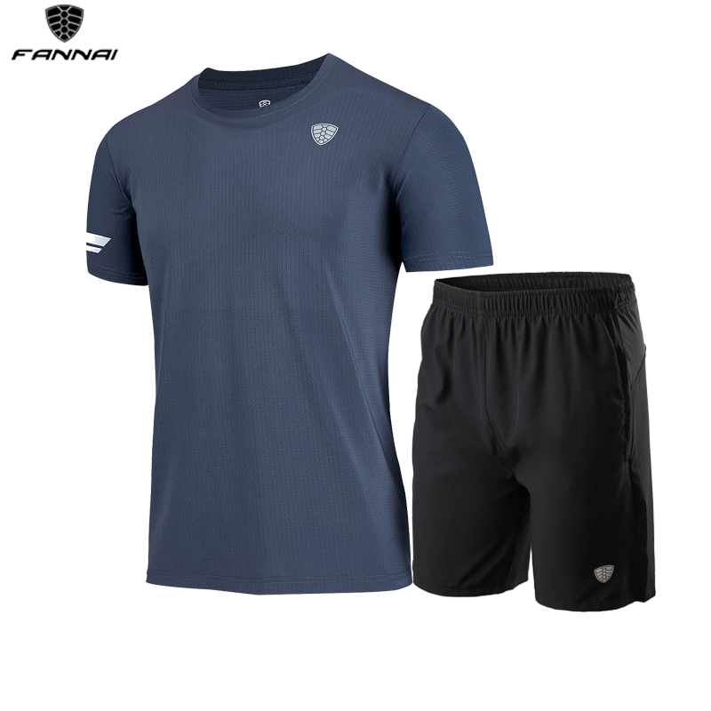 NEW Quick Dry Men's Running Set Short Sleeve Sportswear Summer Casual Basketball Soccer T-shirt Gym Workout Sports Suit
