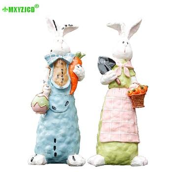 Jardín Animal resina decoración conejo rábano escultura artesanías pintadas parejas regalos decoración del hogar Accesorios