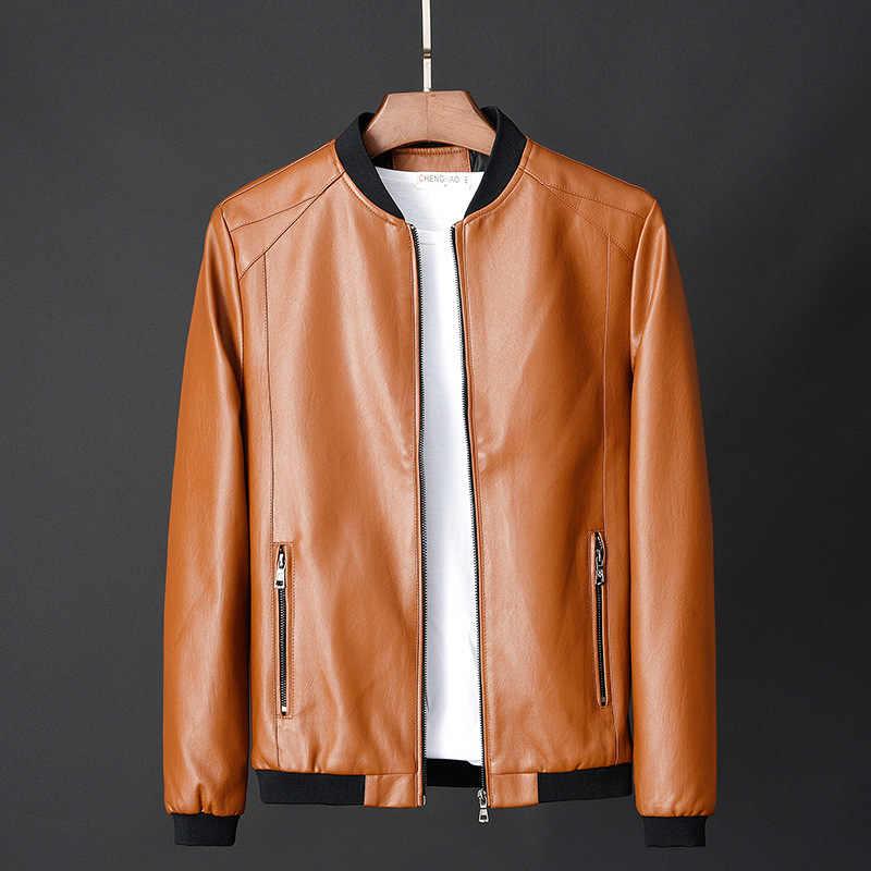 HOO 2019 maschio popolare di trasporto del nuovo collo di pelliccia di modo di colore puro per il tempo libero giacca di pelle