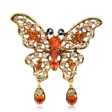 Japanese Korean Girl Brooch Vintage Alloy Rhinestone Butterfly Brooches Pins for Woman Cute Fashion Corsage Accessories