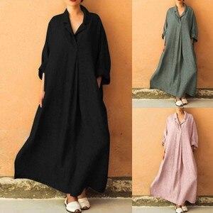 Women Plus Size Long Sleeve Cross V Neck Maxi Dress Full Length Shirt Line Dress High Waist Office Ladies Party Dress Fall#s