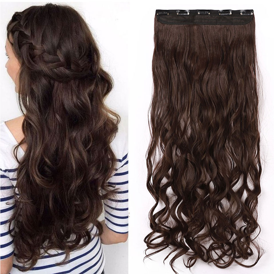 H8c36093dcf394eb1b374e027e27a774eX - s-noilite Long wavy Clip in One Piece hair Extensions hair synthetic natural hair Black Brown blonde women clip in hairpiece