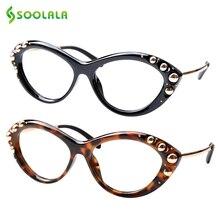 SOOLALA Cat Eye Reading Glasses Womens Designer Gold Beads Presbyopia Eyeglasses 0.5 0.75 1.0 1.25 to 4.0