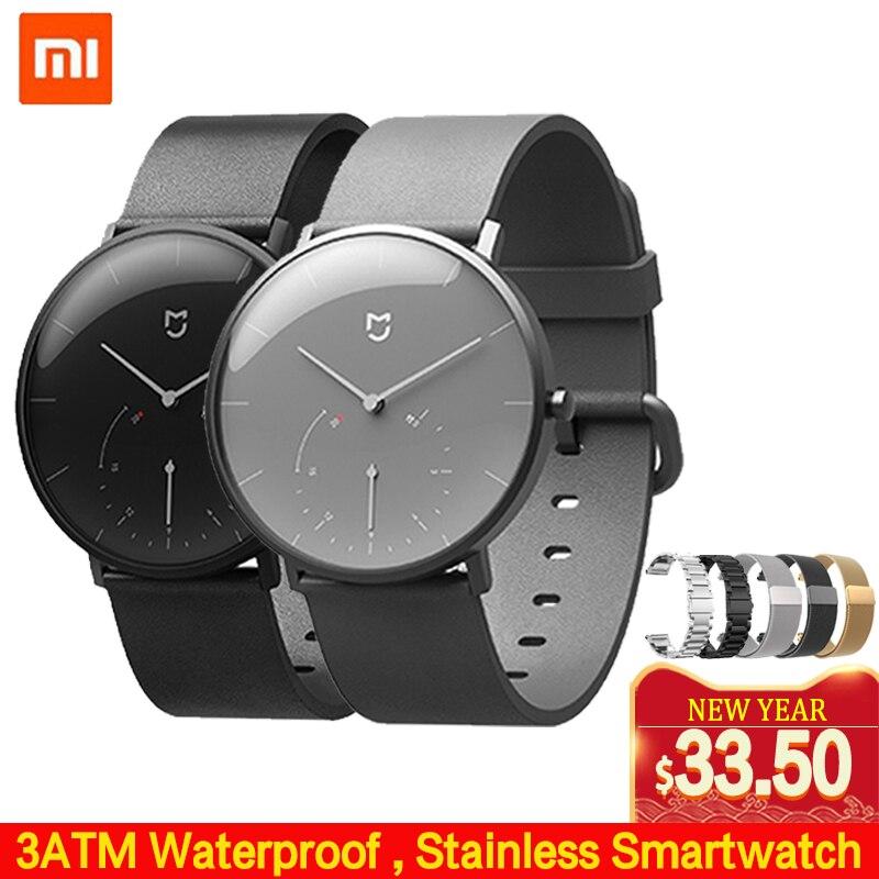 Xiaomi Mijia Quartz Smartwatch 3ATM podomètre résistant à l'eau boîte en acier inoxydable Vibration intelligente étanche montre cadeau