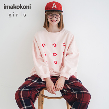 Imakokoni embroidered long-sleeved hoodie original design Korean version of the round neck thickened pullover jacket autumn and 2019 autumn new european and american women s personality stitching ruffled long sleeved round neck slim bag hip dress