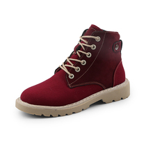 YeddaMavis Red Motorcycle Boots Women Shoes New British Style High Top Canvas Lace Up Womens Woman