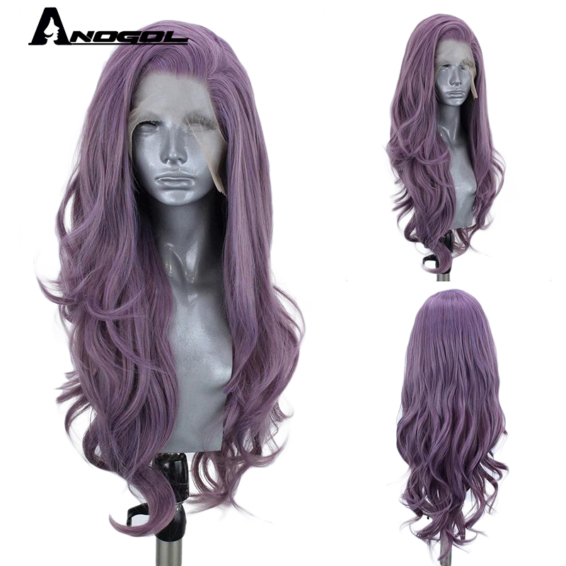 ANOGOL Free Part Long Body Wave Orange Pink Purple Synthetic Lace Front Wig High Temperature Fiber Hair Wigs For Women