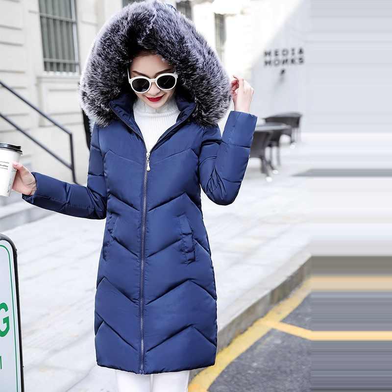 Plus Größe S-6XL Frauen Winter Mantel Gefälschte Pelz Kragen Frau Parka Lange Oberbekleidung Warme Unten Jacke Winter Jacke Weiblichen Mantel neue 2019