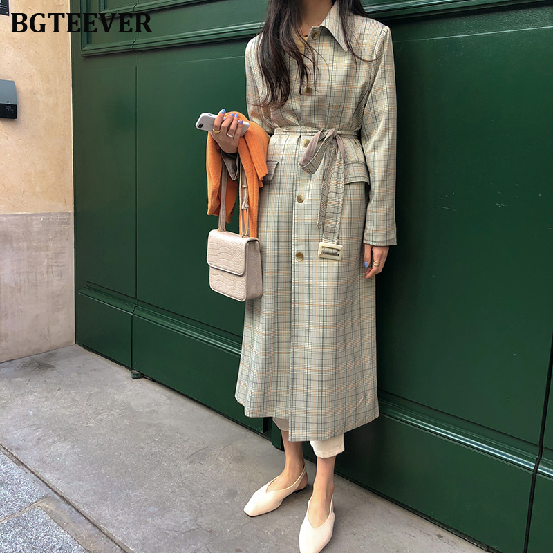 Vintage Plaid Women's Coat Korean Windbreaker Female Trench Coat Single Breasted Lace Up Ladies Long Chic Trench Coats 2019