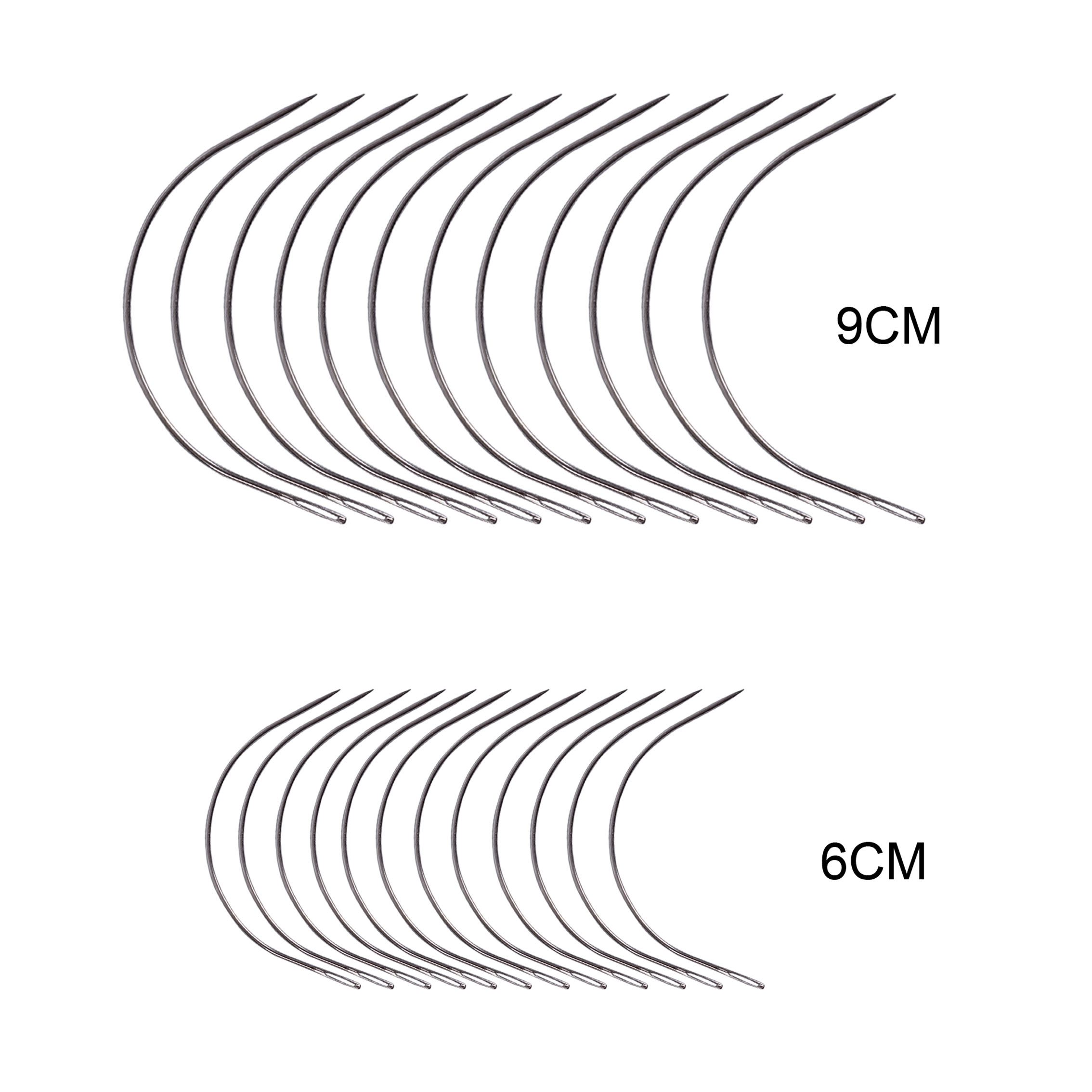 24 Pcs/bag Large 9cm 6cm C Shape Curved Needles Wig Making Crochet Braids Ventilating Hair Weaving Needle