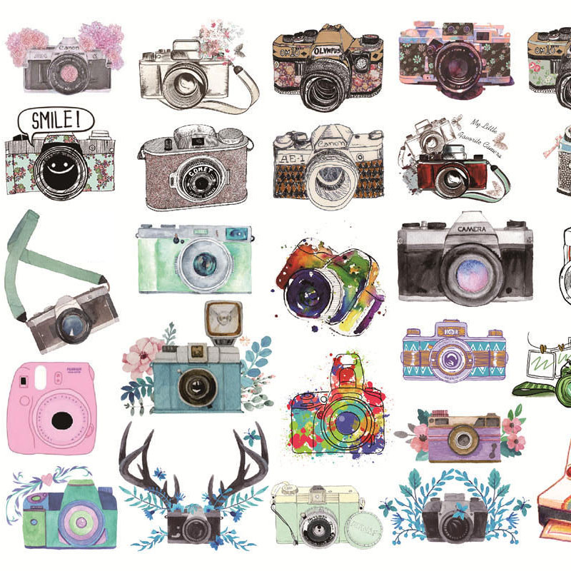 1Sheet Kawaii Cameras Decor Sticker Cute Stationery Sticker Bullet Journal Sticker For Kids Girls Diy Scrapbooking Diary Album