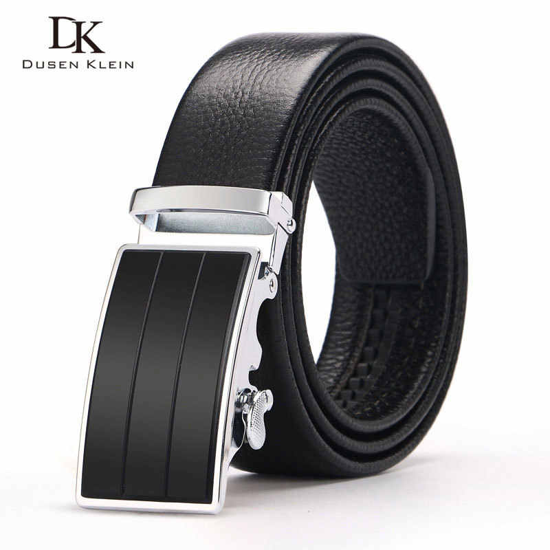 New leather Belt Dusen Klei Black Buckle Cowskin  Leather Men's Belts Strap Male waist belt  DK-T114