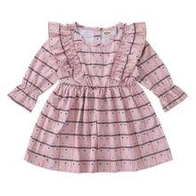 Осеннее милое платье для маленьких девочек в клетку с длинными