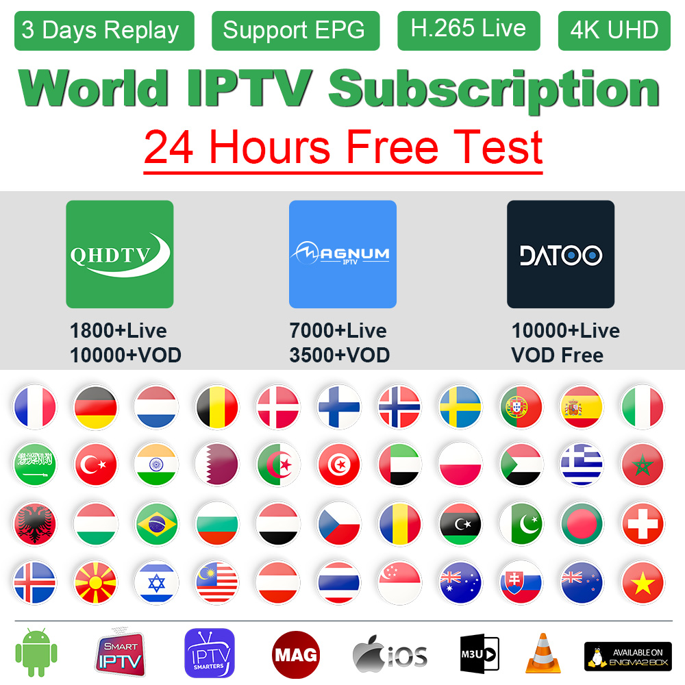 IPTV France Arabic QHDTV/Sansat/Datoo IPTV M3U Subscription IPTV France Germany Portugal Spain Sweden Norway Belgium Dutch IP TV