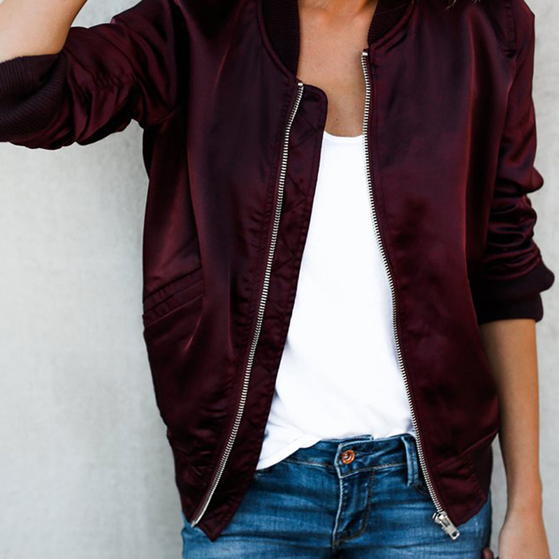 Women Jacket Solid 2020 Tops Girl Plus Size Casual baseball Women Clothing Zipper Bomber Long Sleeves Coat Jackets