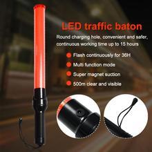 54cm Glow Hand Safty Light Stick Wand Flash Warning Indicator LED Traffic Baton