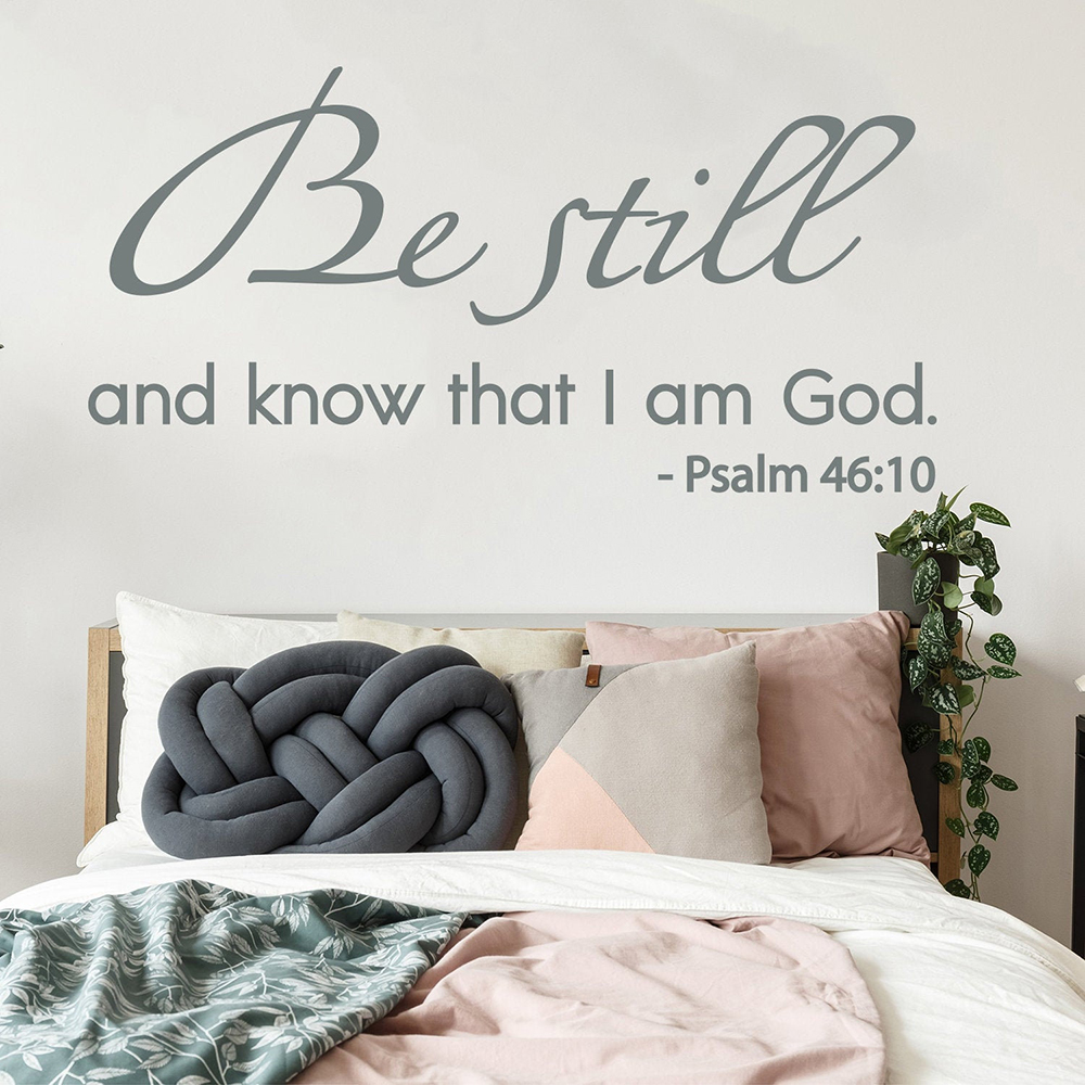 christian Bible quote wall decal psalm be still and know that i am God psalm 46:10 scripture decal for Home bedroom decor Z962 image