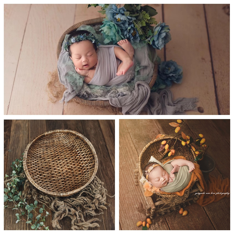 Newborn Photography Props Retro Old Basket Baby Photographing Manual Rattan Original Basket Studio Baby Photo