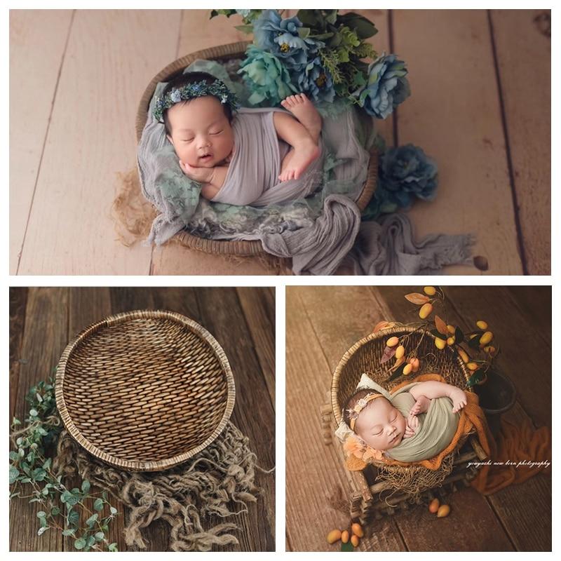 Newborn Photography Props Retro Old Basket Baby Photographing Manual Rattan Original Basket Studio Baby Photo