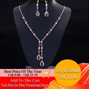 Image 1 - CWWZircons Elegant Multicolored Cubic Zirconia Stone Long Dangle Drop Party Jewelry Sets for Women Necklace and Earring Set T226