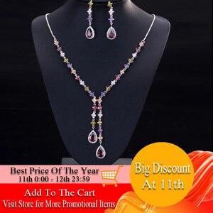 Image 1 - CWWZircons エレガントな多色キュービックジルコニア石ロング女性ネックレスとイヤリングセット T226