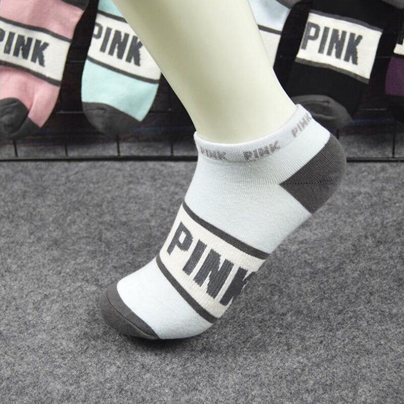 Socks Pink Women Motion Harajuku Colorful Funny Socks Pink Letter Football Creative Letters Sock Streetwear Ankle Socks Running