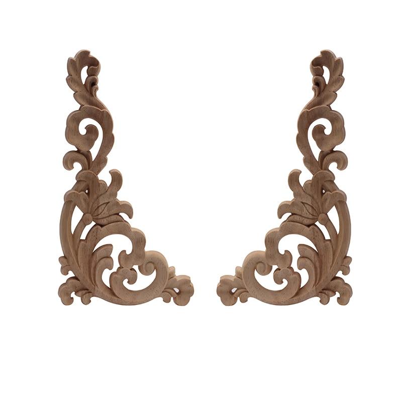 1//4 x Wood Carving European Rose Decal Door Cabinet Corner Onlay Applique 8*8cm