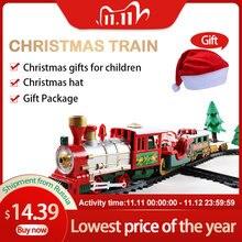 Weihnachten Elektrische Schiene Auto Zug Spielzeug kinder Elektrische Spielzeug Eisenbahn Zug Set Racing Road Transport Gebäude Spielzeug 282539