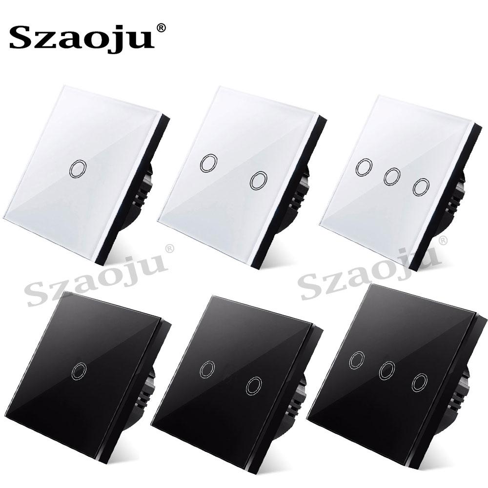 Eu Standaard Muur Touch Light Switch, Touch Schakelaar Muur Power Sensor Schakelaar, White Crystal Glass Panel, met Led Backlight, AC220V