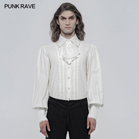 PUNK RAVE Men's Gothic Dress Gorgeous Palace Long Sleeve Shirt Fashion Removable Bow Tie Party Wedding Gown Men Shirts