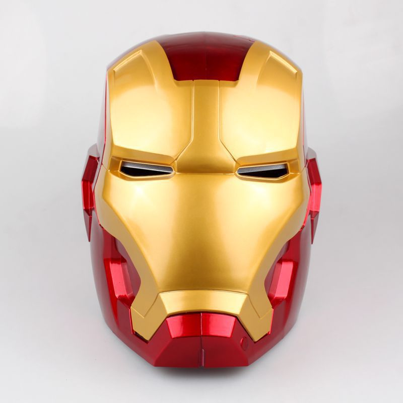 [Funny] The avengers super hero Iron Man Helmet electronic Mask PVC Figure Toy with LED Light Collection Model adult Size 1