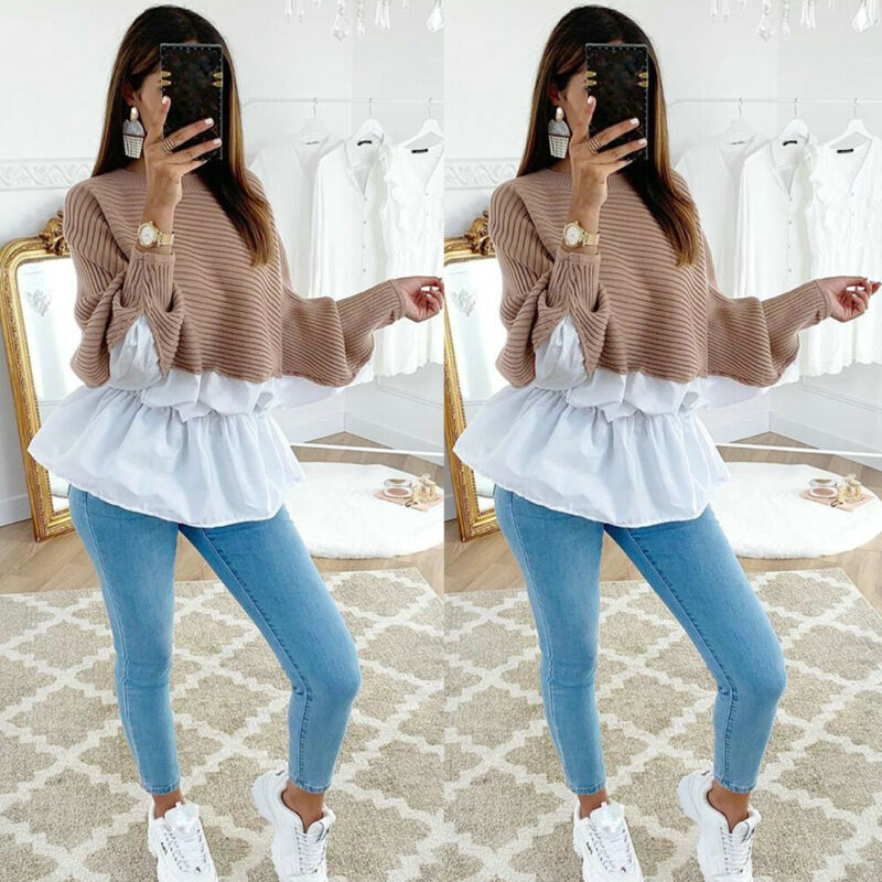 Meihuida Women Casual Batwing Long Sleeve Patchwork Pullover Loose Oversized Shirts Soft Comfortable Sweaters