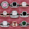 2021 Trend New Rose Gold Color 925 Sterling Silver Engagement Wedding Ring Set of for Women Christmas Gift Dating Jewelry R4955