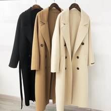 2020 jesień kobiety wełniany płaszcz skręcić w dół kołnierz podwójne piersi długi płaszcz wełniany wielbłąd kobiety ciepły płaszcz Casaco Feminino
