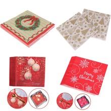 20pcs/Set 1ROLL Creative Merry Christmas Snowflake Beautiful Printing Napkins Xmas Napkins Christmas Tree Napkins