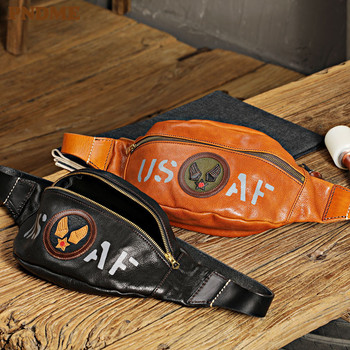 PNDME vintage designer natural genuine leather mens waist packs fashion high-quality cowhide chest bag motorcycle messenger