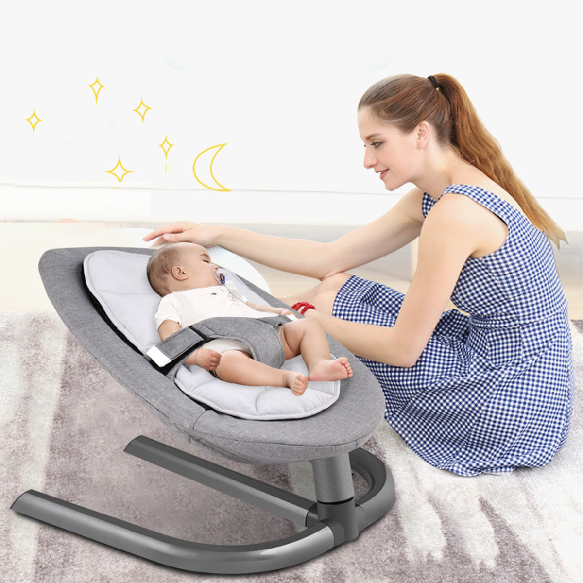 H8c379933ec664b2fb3007ce695a6ed3ad Newborn Electric Swing Multifunctional  Baby Bouncer Cradle Rocking Chair With Mosquito Net Cradle Crib Sleeping Safety Basket