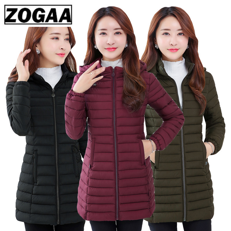 ZOGAA winter jacket women   parka   Large size Thicken warm Hooded long Slim Down cotton coat jacket women Outwear   Parkas   5XL 6XL