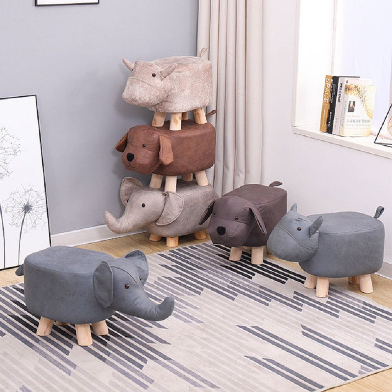 Shoe Stool Household Furniture Baby Sofa Animal Small Portable Solid-Wood title=