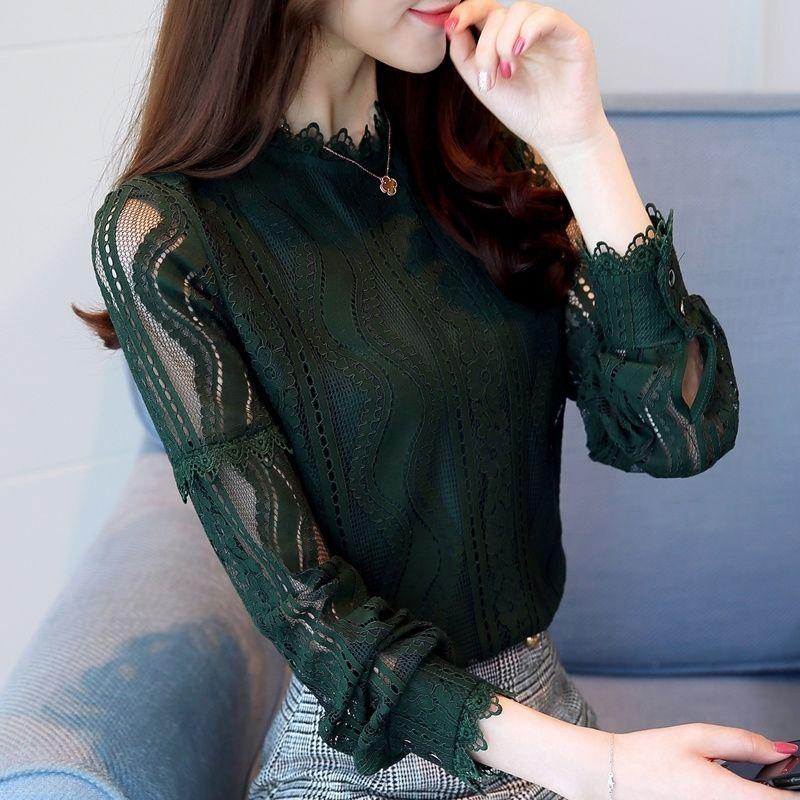 Spring Beading Mesh Blouses Women Sweet Lantern Sleeve Pearls Gauze Blouses Ladies Elegant Shirt Tops Stand Collar Chiffon S-2XL 19