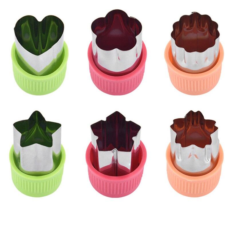 3 pièces Portable étoile en forme de coeur en acier inoxydable coupe de fruits Die Cook outils poignée en plastique légumes Cutter Gadgets de cuisine