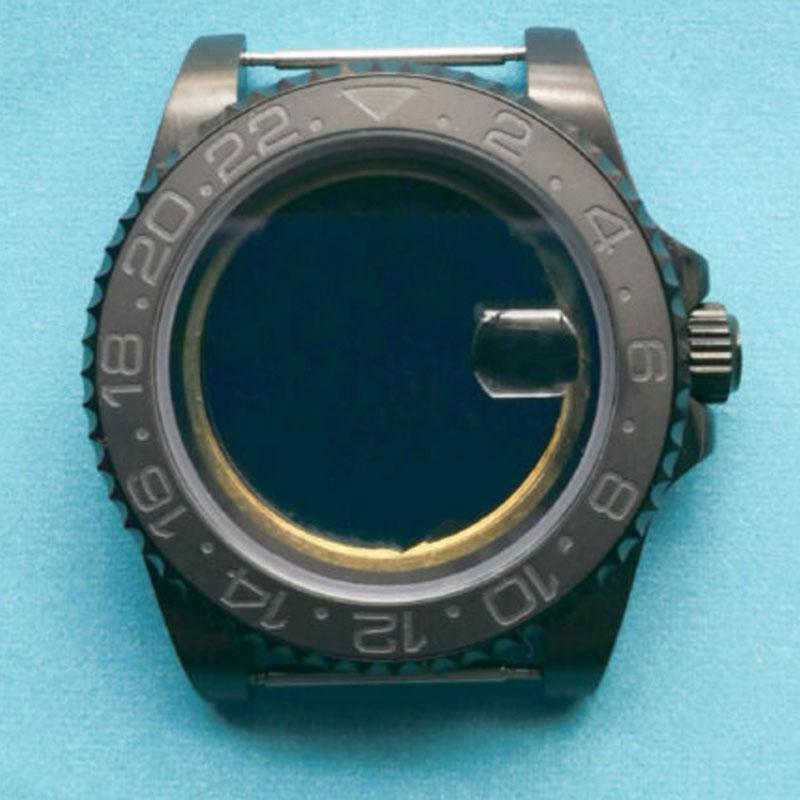 40mm Sapphire Glass Black Ceramic Bezel Watch Case Fit 2824 2836 8215 MOVEMENT