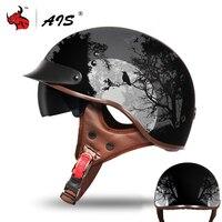 Capacete retrô vintage para motociclista  capacete retrô com abertura facial para o verão