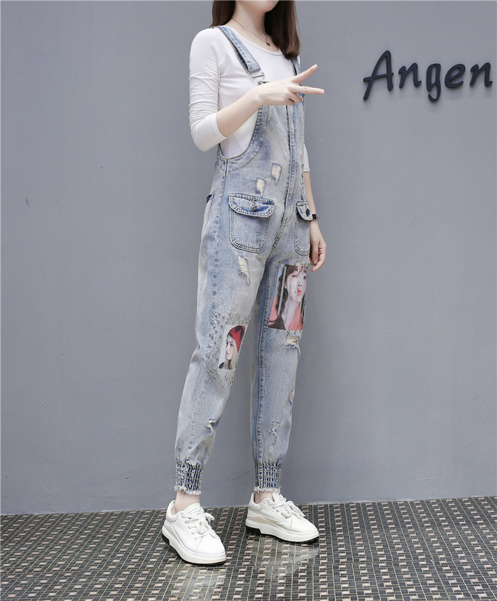 Women Print Cartoon Cat Denim Jumpsuits Rompers Overalls New Hole Loose Beaded Jean Pants Female Casual Long Pants