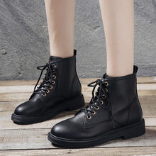 Women Flat Heel Round Head Ankle Booties Winter Strap Lace-Up Warmer Hiking Snow Boots Cowboy Warm Shoes woman Martin Boots(China)