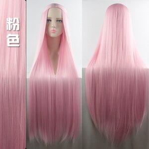 Image 3 - MUMUPI Cos Perücke Blonde Rot Rosa Grau Lila Haar für Party 100CM Lange Gerade perücken Synthetische cosplay Perücke für schwarz Frauen