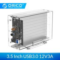 ORICO Dual 3.5'' USB3.0 HDD Case 6Gbps SATA to USB 3 Transparent With Aluminum HDD Dock Station UASP 24TB Add 12V Power Adapter