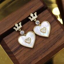 Temperament Shell Crown Heart Drop Earrings 2019 New Fashion Jewelry Women Statement Wholesale